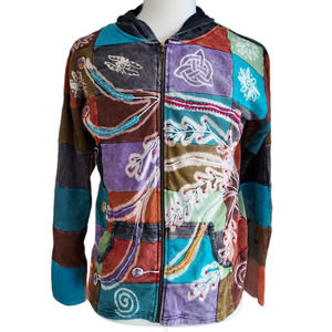 Rising International Embroidered Patchwork Hoodie